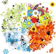 四季梦幻花纹花朵图片