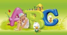 儿童学英语ABC背景图片素材