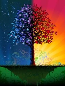 潮流炫酷光感树木插图
