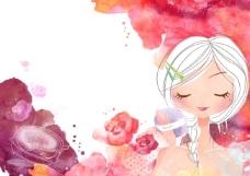花朵一般的女孩子插画素材