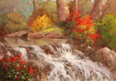 小溪田园风格油画图片