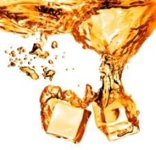 橙汁冰块图片