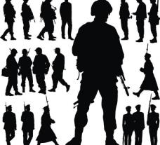 軍隊戰士剪影圖片