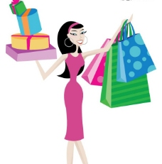 一款时尚购物女性插画矢量素材