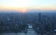 上海 傍晚 全景图片