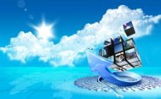 蓝色科技 白云 天空图片