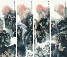 山水四屏图片