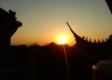 古寺夕阳图片