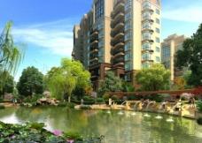 小区池塘边休闲环境图片