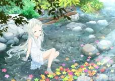 河边坐着的女孩