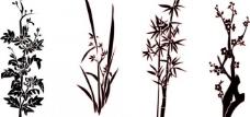 梅兰竹菊 矢量图图片