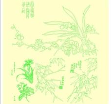 手绘梅兰竹菊图片