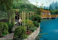 岸上竹廊图片