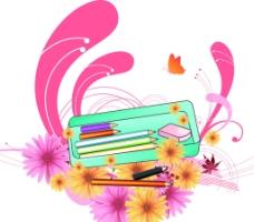 文具与花纹 文具 花图片
