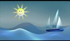 卡通帆船视频素材图片