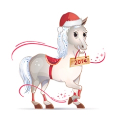 2014圣诞节可爱骏马矢量素材