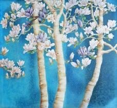 玉兰花背景墙装饰画
