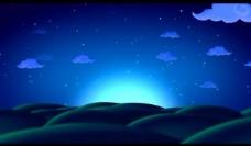 卡通蓝天白云舞台背景图片
