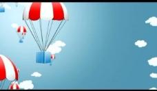 卡通降落伞背景视频图片