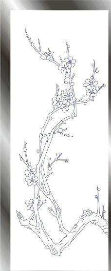 梅花黑白边框素材手绘