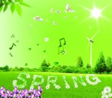 春天海报 绿色图片
