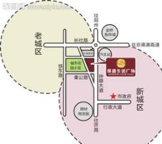 生活广场区位矢量图图片
