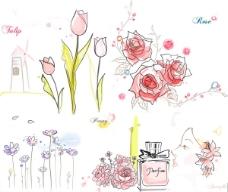 郁金香玫瑰花牡丹手绘矢量