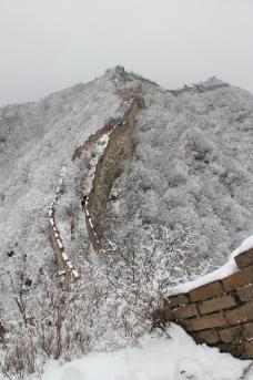 野长城雪景图片