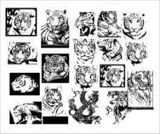 黑白虎头图片免费下载,黑白虎头设计素材大全,黑白,-.