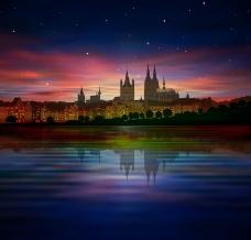卡通城市夜景图片