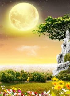 高山月亮图片