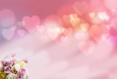 温馨浪漫粉色背景PSD分层素材