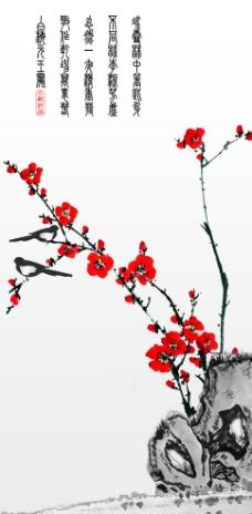 梅 喜鹊 水墨画图片