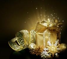 圣诞礼盒星光背景图片