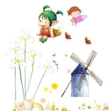风车 花朵 卡通女孩图片