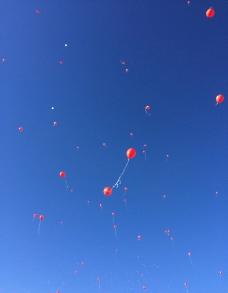 蓝天气球图片