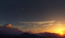 群山日落图片