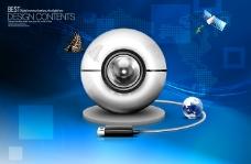 USB摄像头与蓝色背景