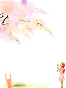 树下的小女孩图片