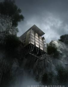 悬崖建筑物图片
