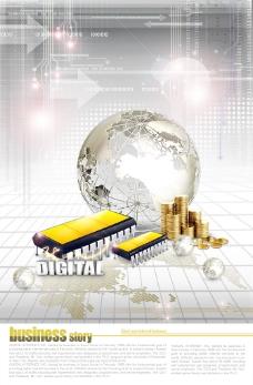 金币地球仪与科技背景PSD分层素材