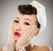 新娘妆面 模特棚拍图片