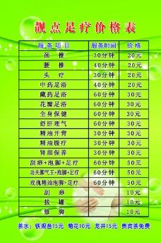 足療價格表圖片