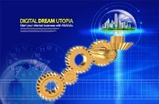 金色齿轮与蓝色科技背景PSD分层素材