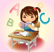 学习英语的女孩图片