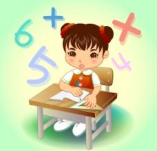 学习数学的女孩图片