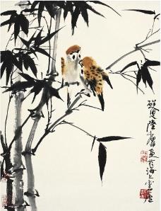 竹雀图图片