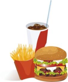 汉堡套餐矢量图