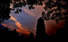 夕阳罩宝塔图片
