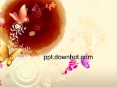中国风古典蝴蝶PPT模板